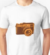 Camera 35mm Vintage Woodcut Unisex T-Shirt