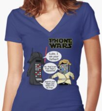 Phone Wars Women's Fitted V-Neck T-Shirt