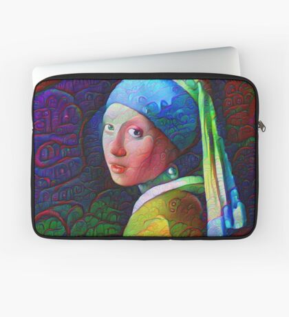 "DeepDreamed ""Girl with a Pearl Earring"" Laptop Sleeve"
