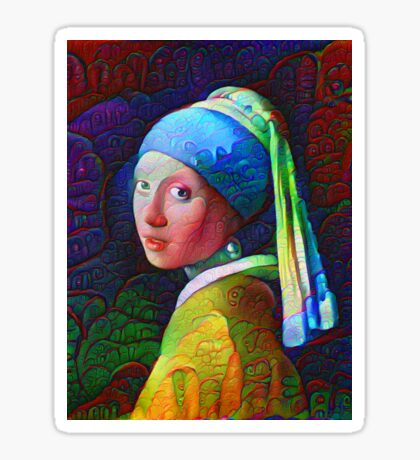 """DeepDreamed """"Girl with a Pearl Earring"""" Sticker"""