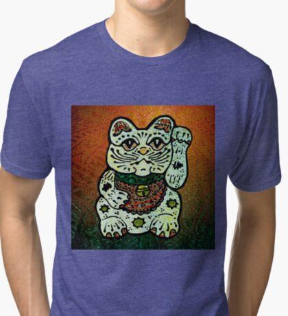 'Shiny Lucky Cat #3' Tri-blend T-Shirt
