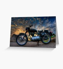 Enfield Bullet 500cc motorcycle at sunset.  Greeting Card