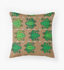 Revenge of the Frogs Throw Pillow
