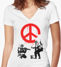 Banksy - Soldiers Painting Peace (CND Soldiers) Women's Fitted V-Neck T-Shirt