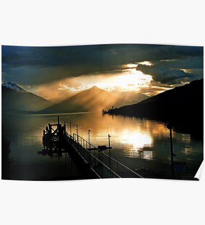 Lake Te Anau sunset. South Island, New Zealand. (5) Poster