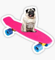 Skater Pug Sticker
