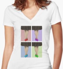 Vibrant Shoes Women's Fitted V-Neck T-Shirt