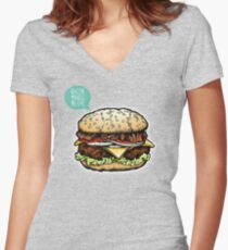Epic Burger! Women's Fitted V-Neck T-Shirt