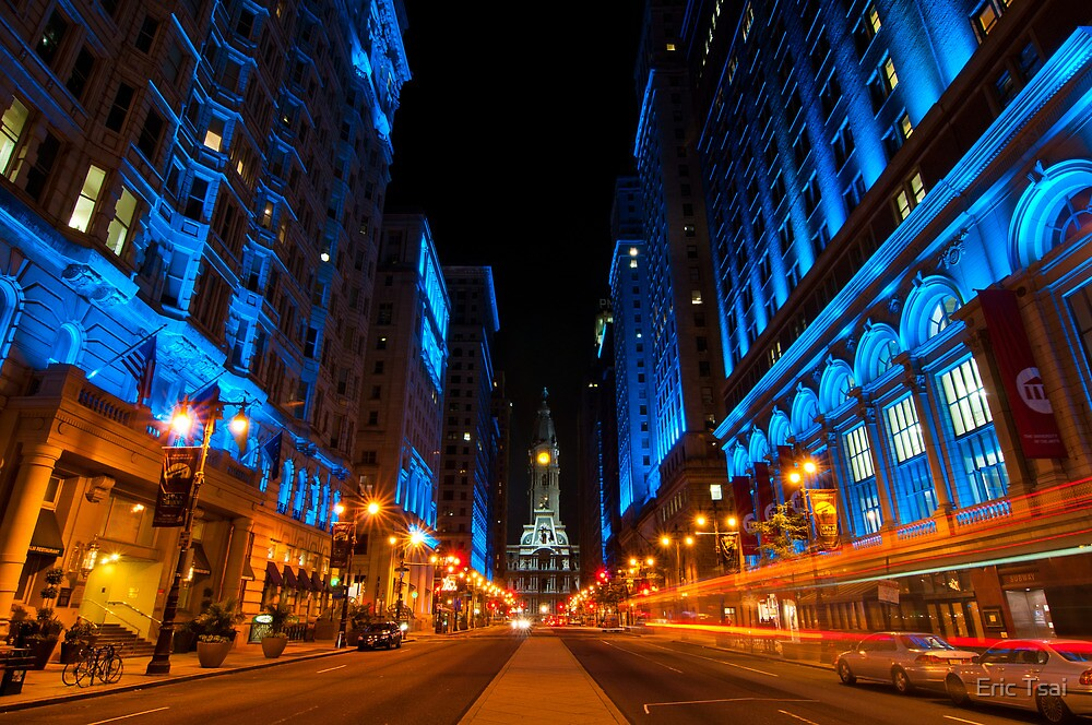 broad street city lights philadelphia by eric tsai redbubble