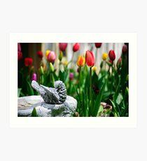 A Bird And A Tulip Art Print