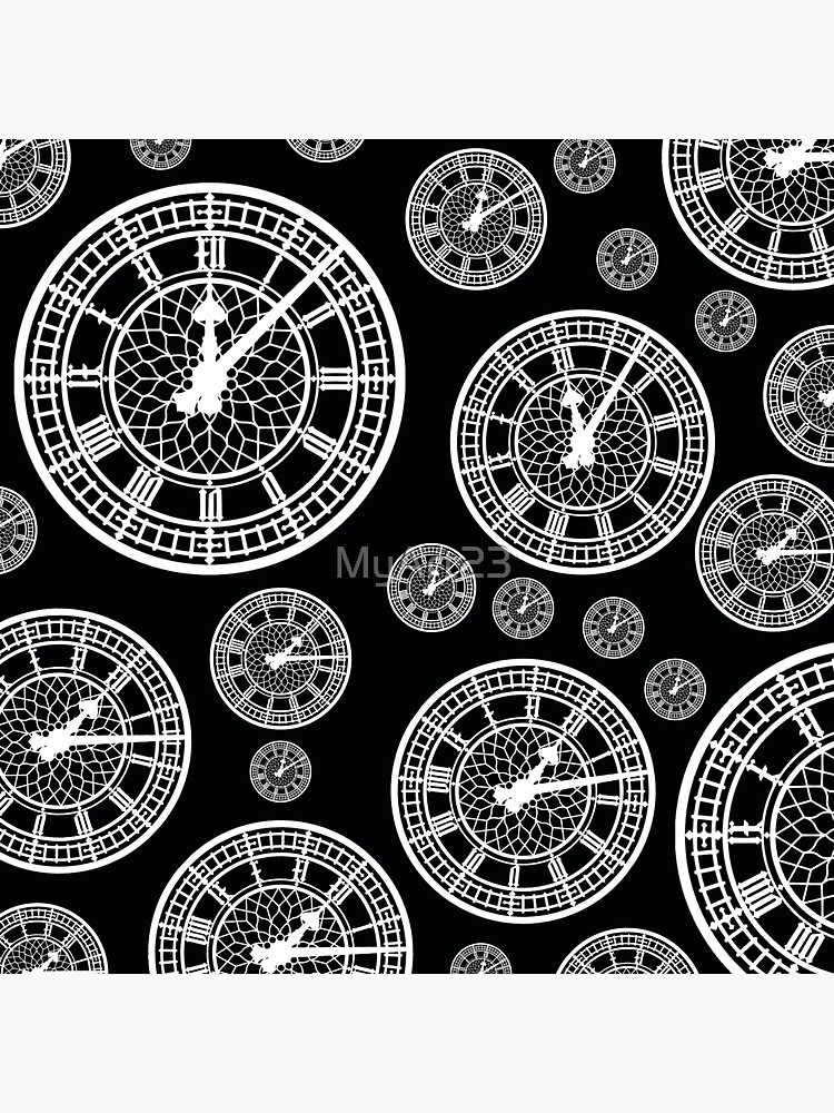 Black and White Vintage Clock Pattern by MyArt23