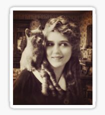 Mary Pickford - Vintage Lady with kitten - Vintage Selfie Sticker
