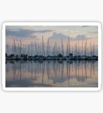 Pastel Sailboats Reflections at Dusk Sticker
