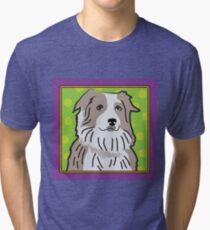 Australian Shepherd Cartoon Tri-blend T-Shirt