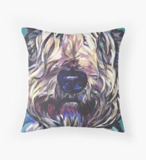 Wheaten Terrier Bright colorful pop dog art Throw Pillow