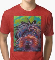 WireHaired Pointing Griffon Bright colorful pop dog art Tri-blend T-Shirt