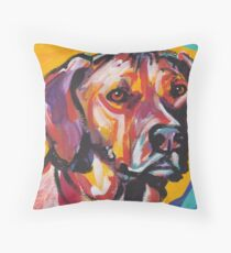 Rhodesian Ridgeback Bright colorful pop dog art Throw Pillow