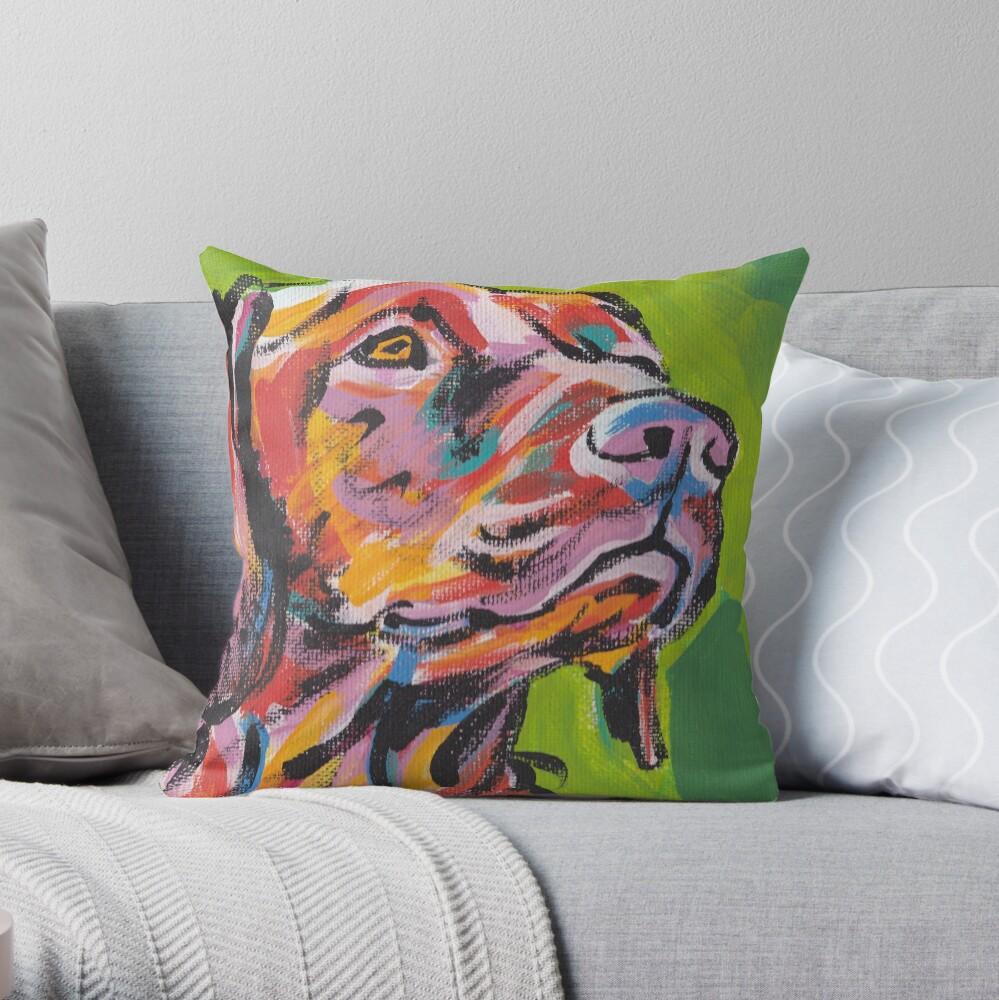 Vizsla Dog Arte pop colorido brillante Cojín