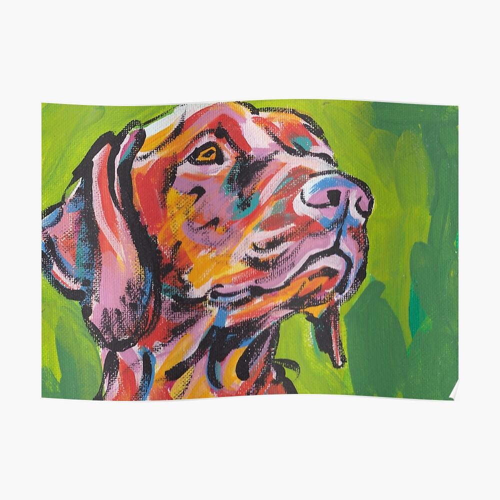 Vizsla Dog Arte pop colorido brillante Póster