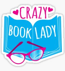 Crazy Book Lady with a pair of glasses and a book in blue Sticker