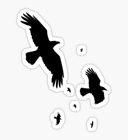 A Murder of Crows In Flight Vector Silhouette Sticker