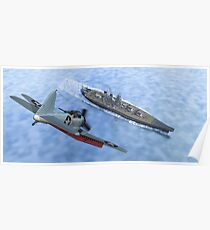 SBD Dive Bomber and the Japanese Battleship Yamato Poster