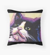 Tuxedo Cat Bright colorful pop kitty art Throw Pillow