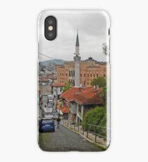 Blue car iPhone Case