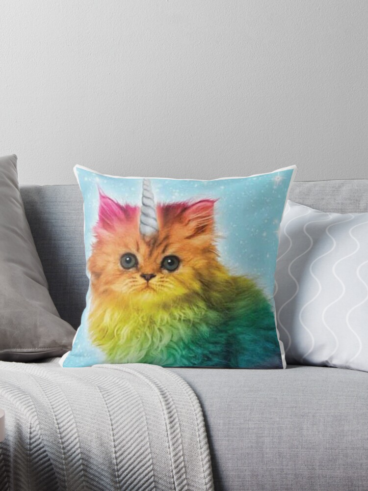 Quot Unicorn Rainbow Cat Kitten Funny Quot Throw Pillows By