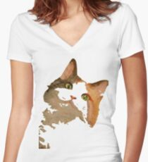 I'm All Ears - Cute Calico Cat Portrait Women's Fitted V-Neck T-Shirt