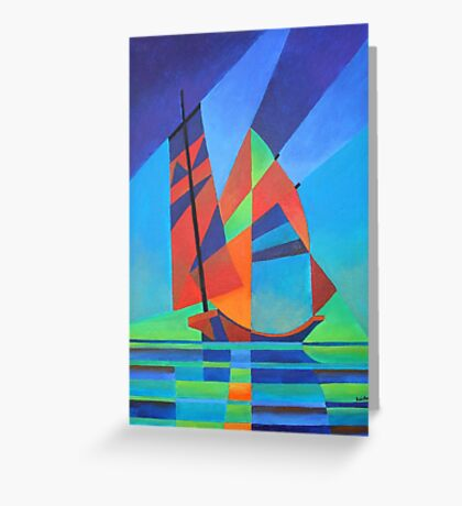 Cubist Abstract Junk Boat Against Deep Blue Sky Greeting Card