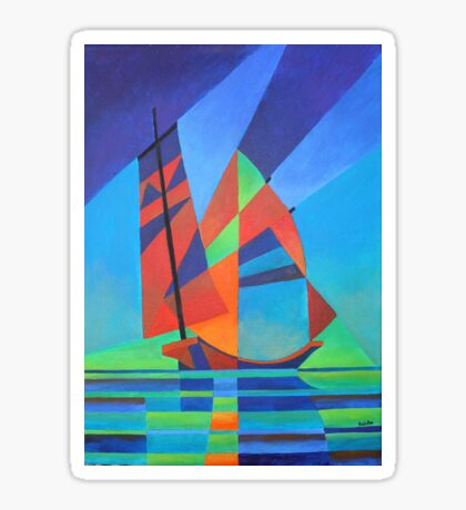 Cubist Abstract Junk Boat Against Deep Blue Sky Sticker