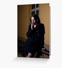 Girl with a cigarette Greeting Card