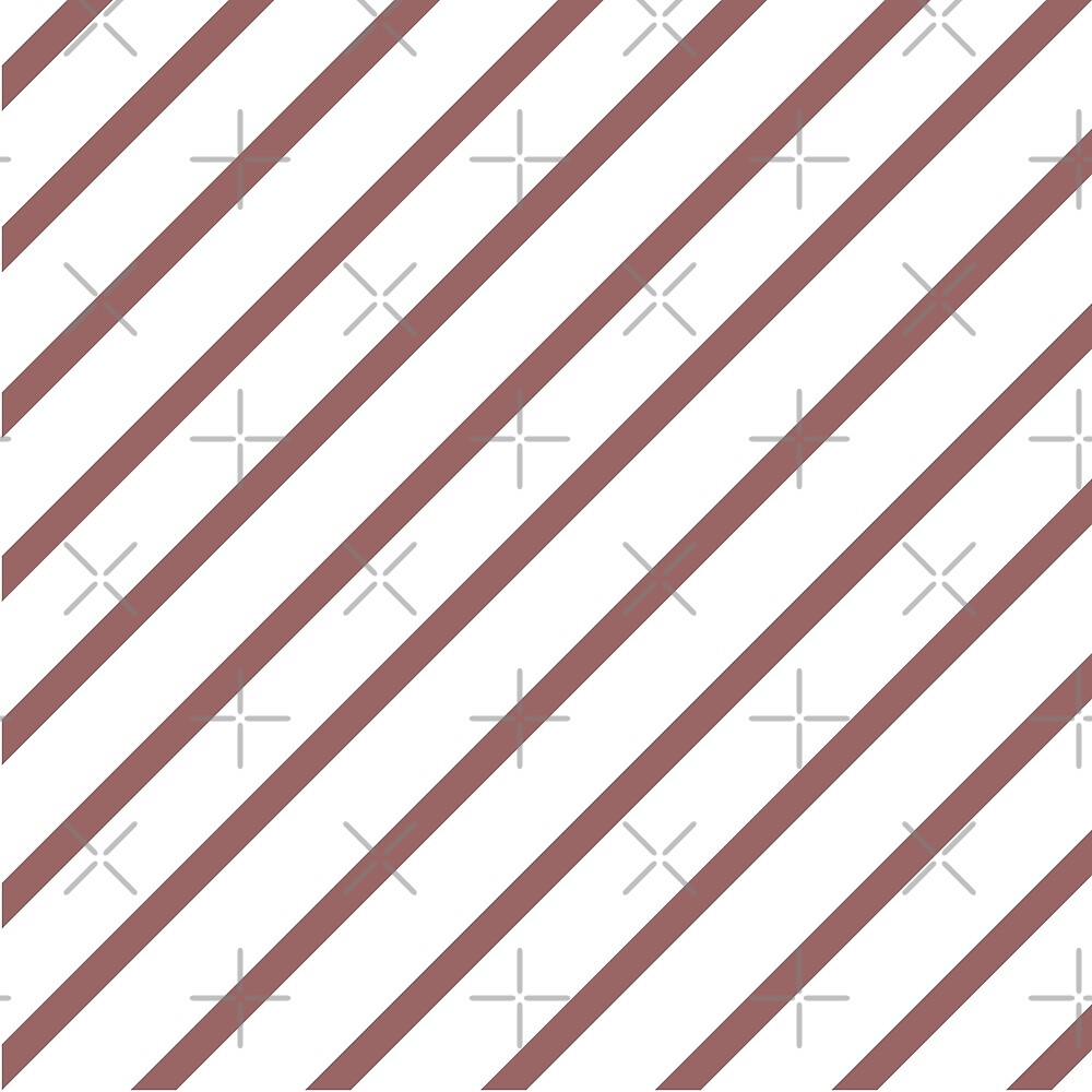 MARSALA PINK- BROWN DIAGONAL AND WHITE STRIPES DESIGN  by ozcushionstoo