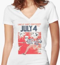 Uncle Sam's Birthday 4th July Women's Fitted V-Neck T-Shirt