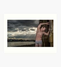 Dramatic Sky with Hot Model on the Thames in London with Andrew Art Print