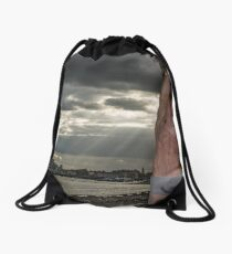 Dramatic Sky with Hot Model on the Thames in London with Andrew Drawstring Bag