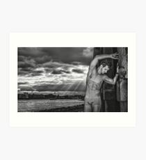Dramatic Sky with Hot Model on the Thames in London  Art Print