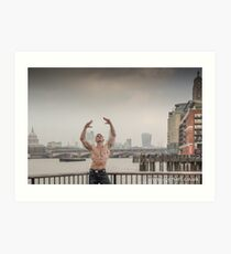 Dramatic Sky with Hot Model on the Thames in London Mark in colour Art Print