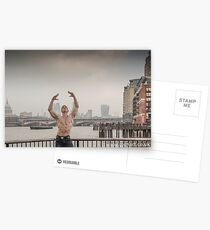 Dramatic Sky with Hot Model on the Thames in London Mark in colour Postcards