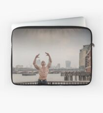 Dramatic Sky with Hot Model on the Thames in London Mark in colour Laptop Sleeve