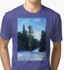 Winter Mood Impressions - Snowy Road in Algonquin Tri-blend T-Shirt