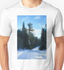 Winter Mood Impressions - Snowy Road in Algonquin Unisex T-Shirt