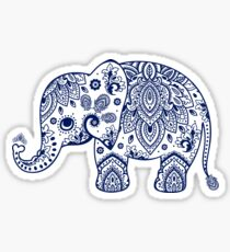Blue Floral Elephant Illustration Sticker