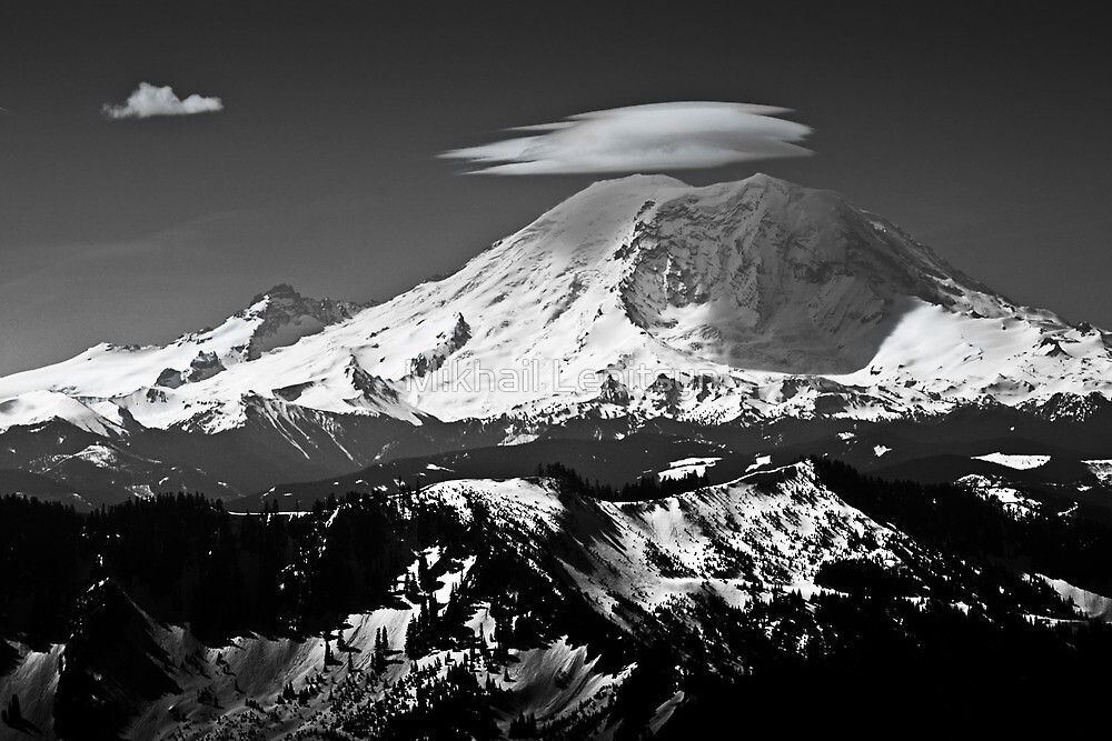 Rainier with clouds by Mikhail Lenitsyn