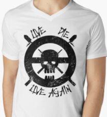 Camiseta para hombre de cuello en v Vivo de nuevo (negro)