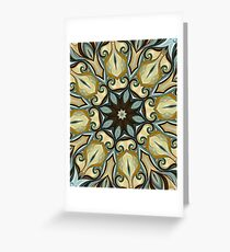 Baroque Blue Rosette- R007 Greeting Card