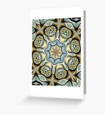 Blue Baroque Leaf Scroll-r0013 Greeting Card