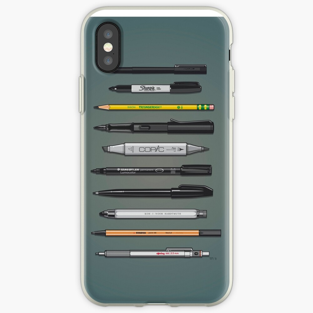 Pen Collection For Sketching And Drawing (Plain) iPhone Cases & Covers