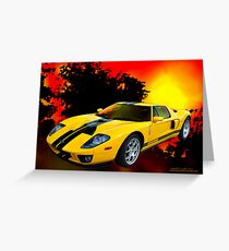 Yellow Ford GT Greeting Card